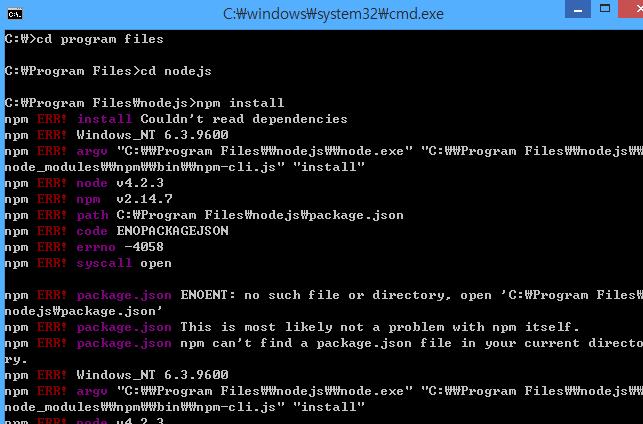 OKKY - Node js에서 npm install시 Couldn't read dependencies오류입니다